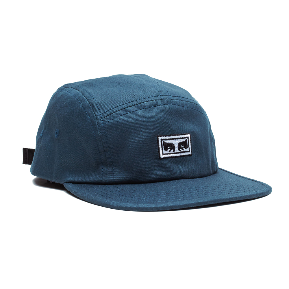 Now in stock Obey Eyes 5 Panel Hat Beautiful mid profile height hat by Obey called Obey Eyes 5 Panel hat. Very Comfortable feel with a strap to fit most people. Equipped with a nice flat visor and iconic Andre the giant eyes by Shepard Fairey embroidery on the front. On the back it has a nice Obey label finish. Productcode: 100490059 Adjustable Strap back cap One size fits most Terrycloth sweatband This easy going headwear called Obey Eyes 5 Panel Hat has a Black, Army Green and Navy Blue color scheme variants.