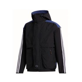 Now in stock Adidas Blackrock Jacket Long sleeved hooded jacket by Adidas, the Adidas Blackrock Jacket. This jack has a loose fit and is made of synthetic fabric 100% polyester with water repellent finish. Full zip closure with buttoned down zip protector and side pockets with zip closure. Stretch in the cuff and trim for isolating the body heat. Classic 3stripe on the sleeves and a rubber logo patch on the zip protector. As an extra an adjustable and removable hood with button closure. Productcode: FM1371 Windbreaker Jacket Long Sleeve 100% polyester Zipped Side pockets Zip Protector Removable hood