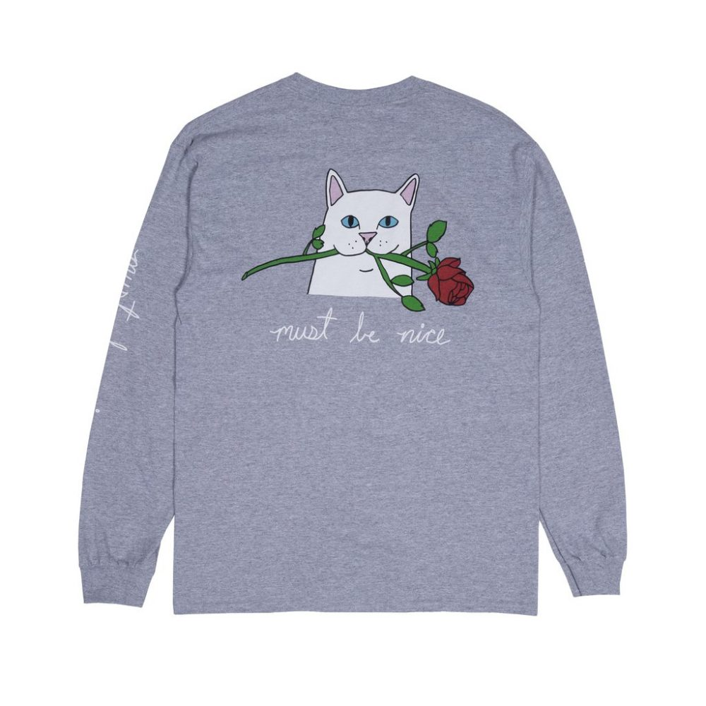 Rip N Dip Romantic Nerm LS Tee Heather Grey