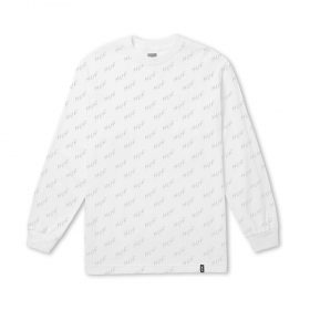Huf BOLT ALL OVER LS TEE WHITE