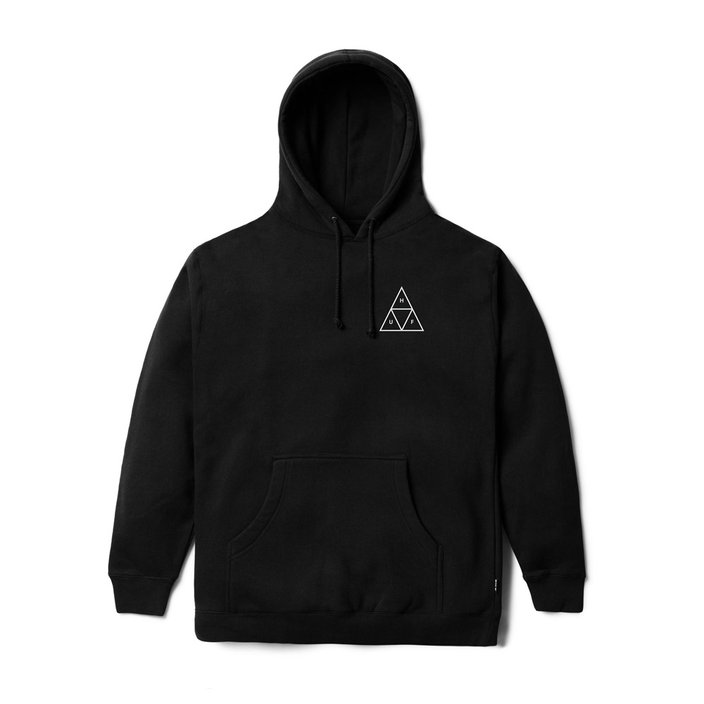 Now in stock Huf Triple Triangle Hood Black Long sleeved hooded sweater by Huf called Huf Triple Triangle Hood Black but also known as Huf Essentials Hoodie. This sweater has a classic fit and is made of a cotton blend. This sweater has a relaxed fit and is equipped with ribbed cuffs and trims. Kangaroo pouch for easy use. On the back you will find the iconic Triple Triangle logo bold printed. Hooded Sweater Kangaroo pouch Printed design Labeled on the leftside This hooded sweater has a classic black and white color scheme