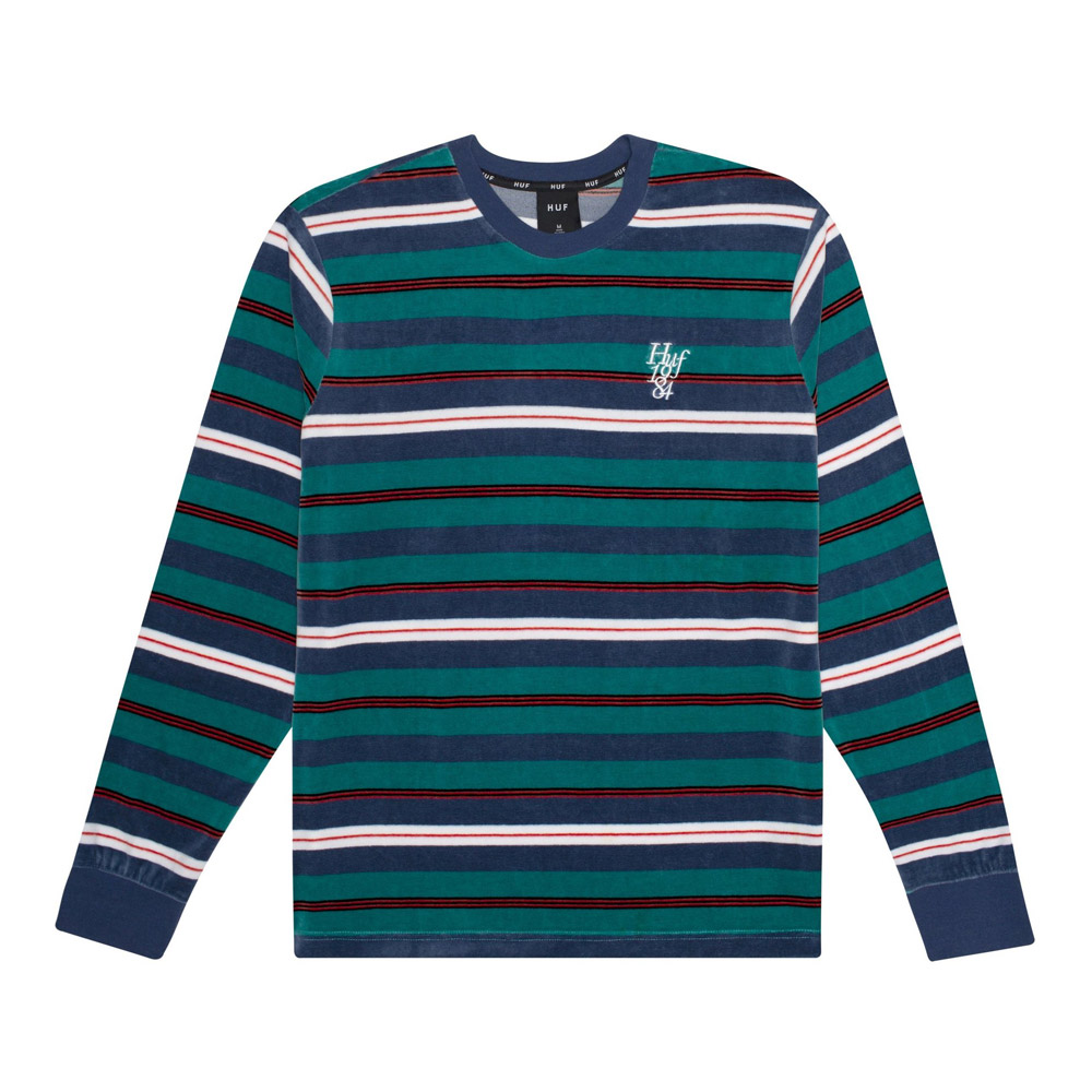 Huf-UNVEIL-STRIPE-VELOUR-L-S-TOP_QUETZAL-GREEN
