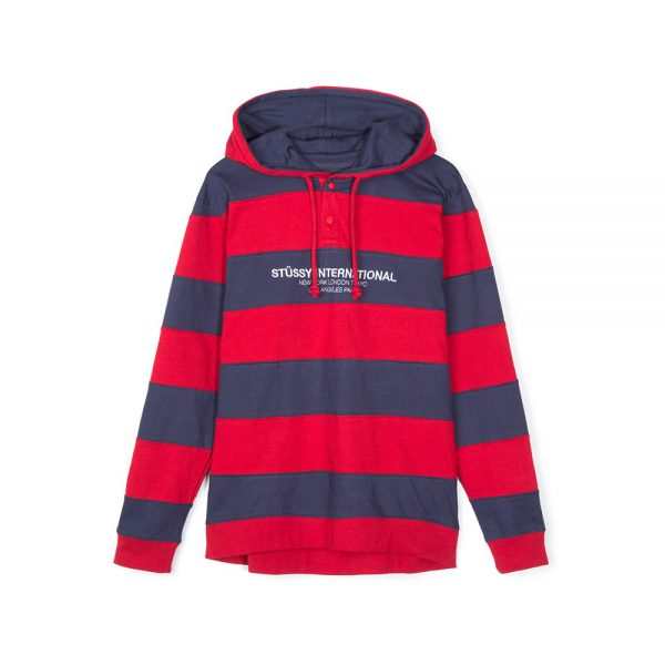 Stussy-Hooded-Stripe-Rugby-Red