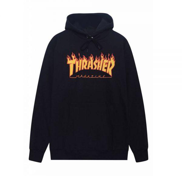 Thrasher-Flame-Hood-Black