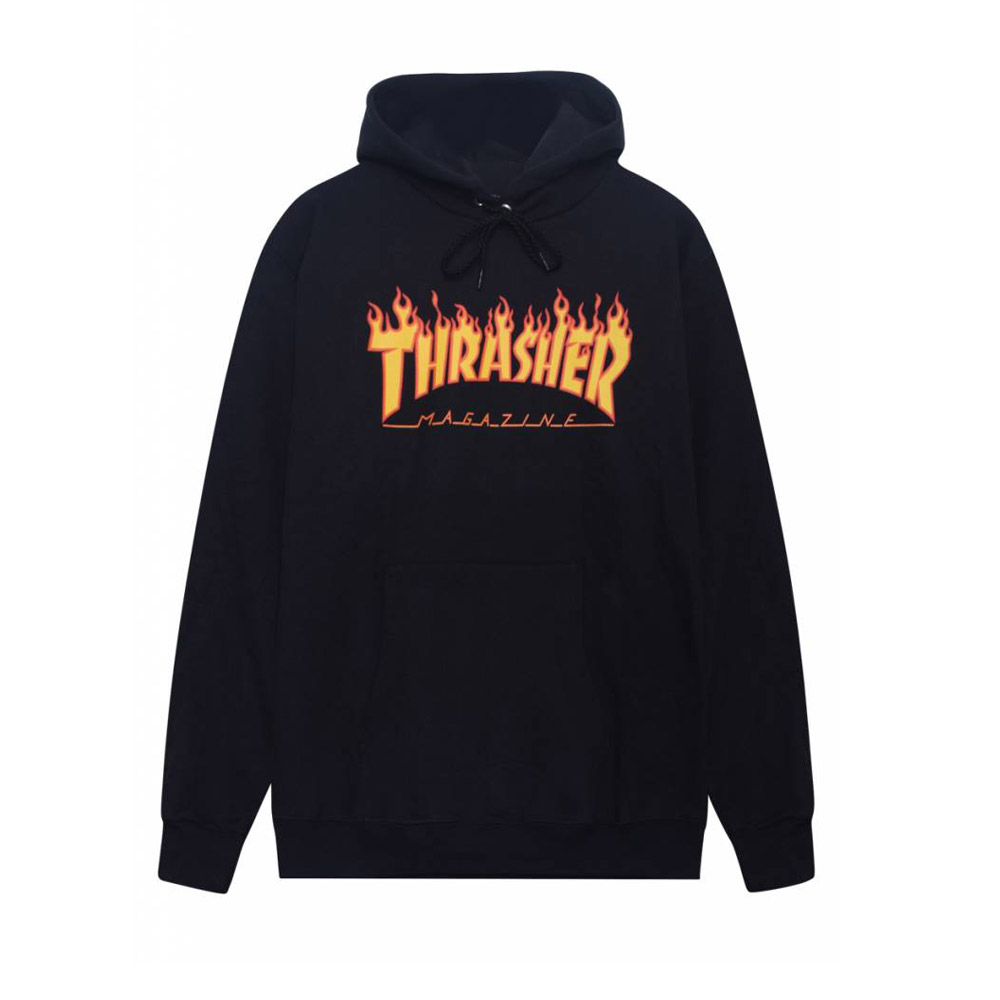 Thrasher-Flame-Hood-Black