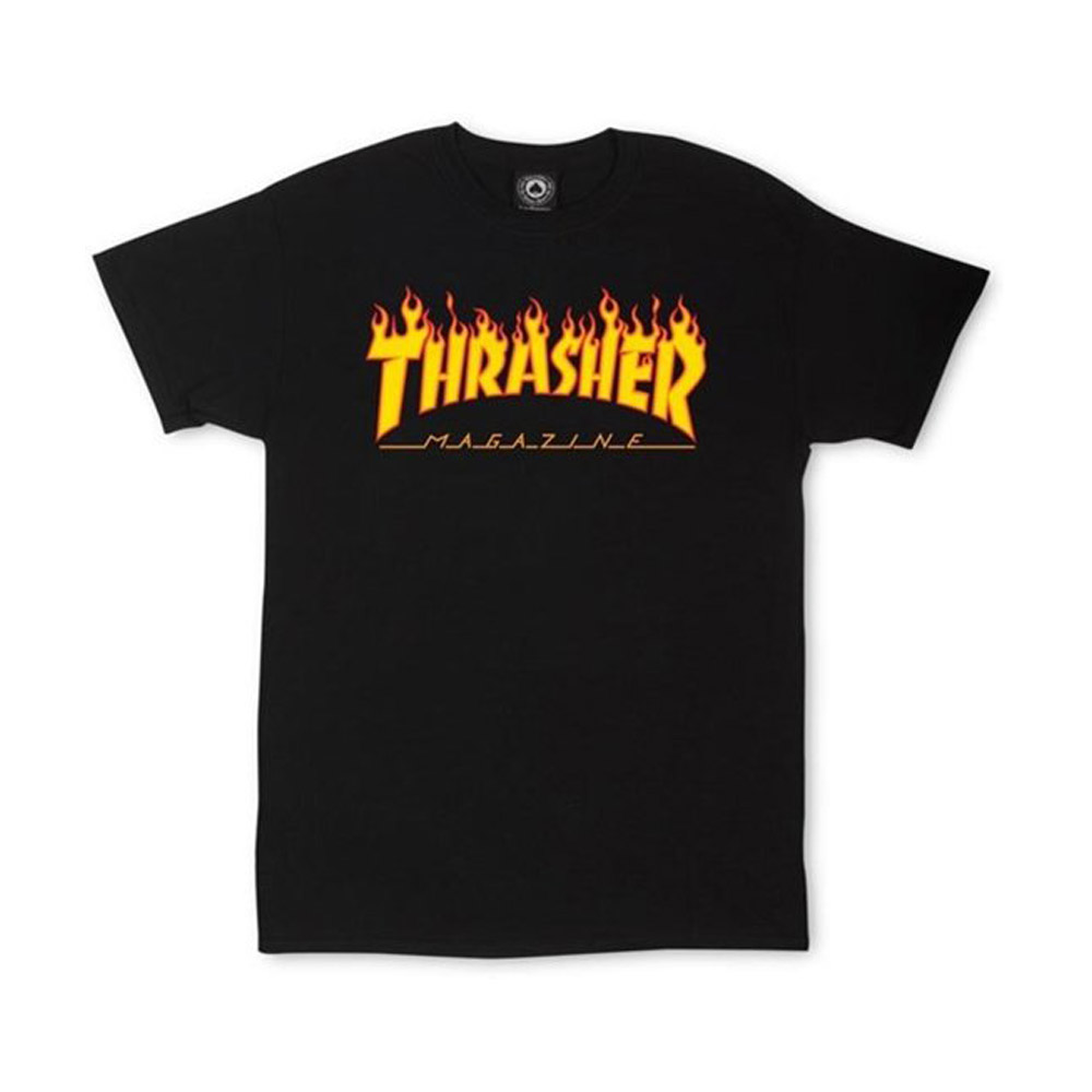 Thrasher-Flame-Tee-Black