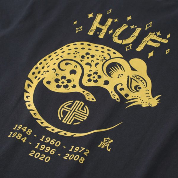Now in stock Huf Year of the Rat LS Tee Productcode: TS01229-Black Crewneck long sleeve shirt Printed design Huf Triple triangle with a twist Cherry Blossoms Labeled on the left side