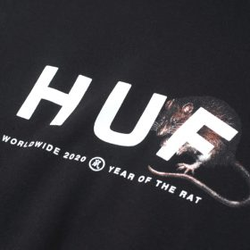 Now in stock Huf Year of the Rat OG Logo Hoodie Productcode: PF00311-Black Hooded Sweater Kangaroo pouch Printed design Labeled on the leftside