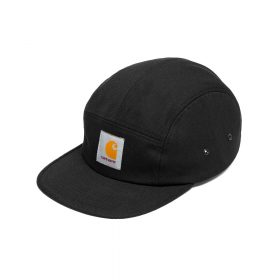 The Carhartt WIP Backley Cap has five panel construction and is made from robust cotton canvas. Features woven Carhartt WIP label on front. Adjustable strap. One size. I016607_1C_00 100% Cotton Canvas, 9.4 oz head circumference: 54 - 60 cm / 21.3 - 23.6 inch structured - front panels reinforced lined five panel firm, flat peak metal ventilation eyelets adjustable strap square label