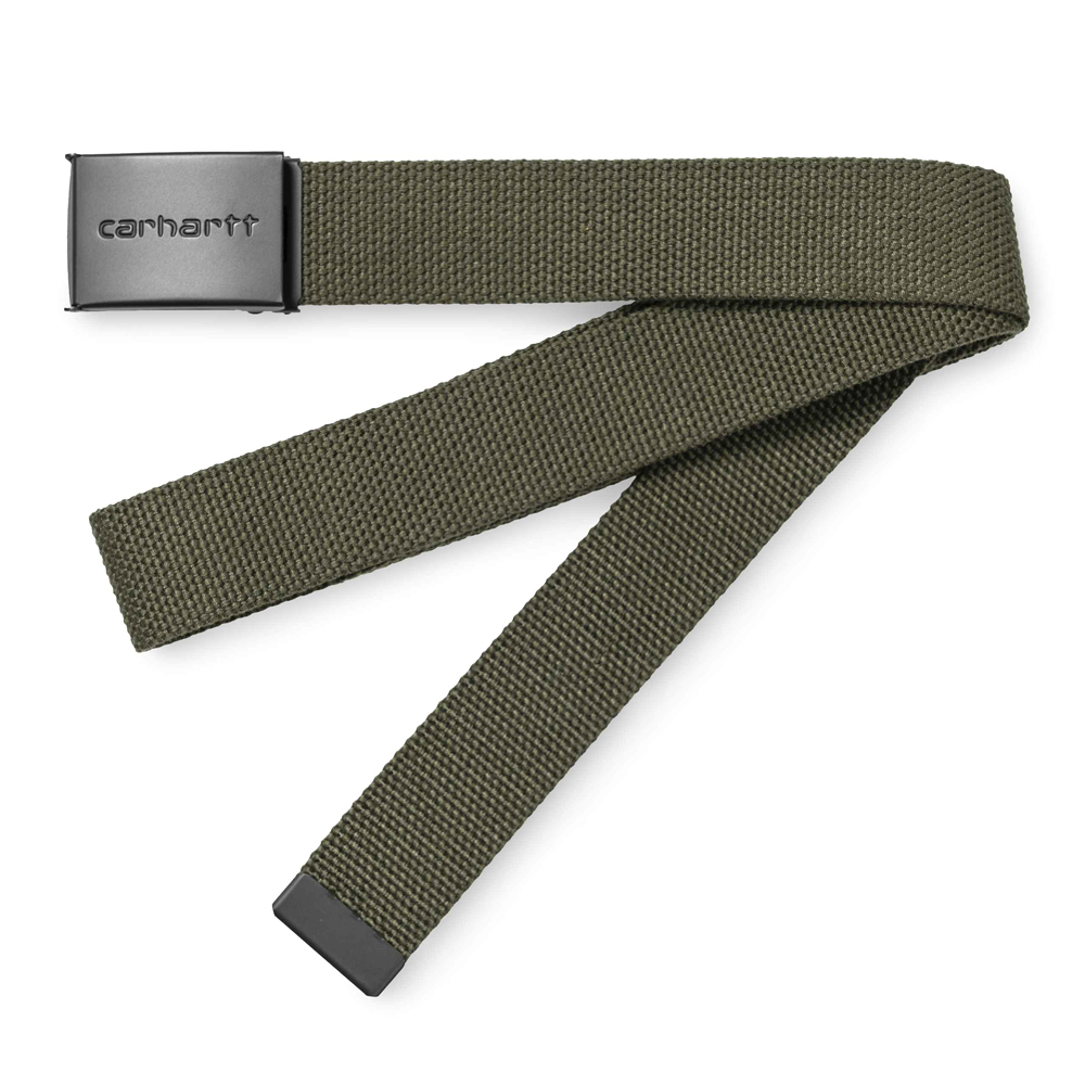 Now in stock theCarhartt WIP Clip Belt Tonal. The Carhartt WIP Clip Belt Tonal is made of 100% polyester canvas and features an interchangeable metal clip buckle with Carhartt WIP branding. One size. Productcode I020451_HZ_00 100% Polyester 3.4 cm / 1.3 inch adjustable, interchangeable clip metal buckle nickle-free script Logoon buckle Multiple colors available Our stock holds the Dark Navy, Cypress Green, Black and Hamilton Brown variants.