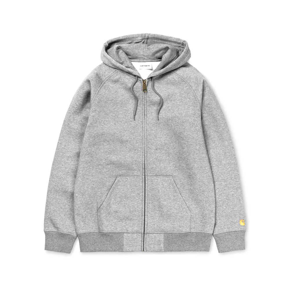 Hooded Chase Jacket The Carhartt WIP Hooded Chase jacket Sweat is a heavyweight hooded sweatshirt, constructed from a cotton-poly blend jersey. It is part of our Chase Program, which focuses on jersey-based staples, and features an embroidered Carhartt 'C' motif on the left sleeve. Ribbed cuffs and hem, drawstring hood and front pouch pocket. Regular fit. I026385_V6_90 58/42% Cotton/Polyester Heavy Sweat, 13 oz regular fit brushed flatlock stitching adjustable hood raglan sleeves personalized slider kangaroo pocket logo embroidery on sleeve