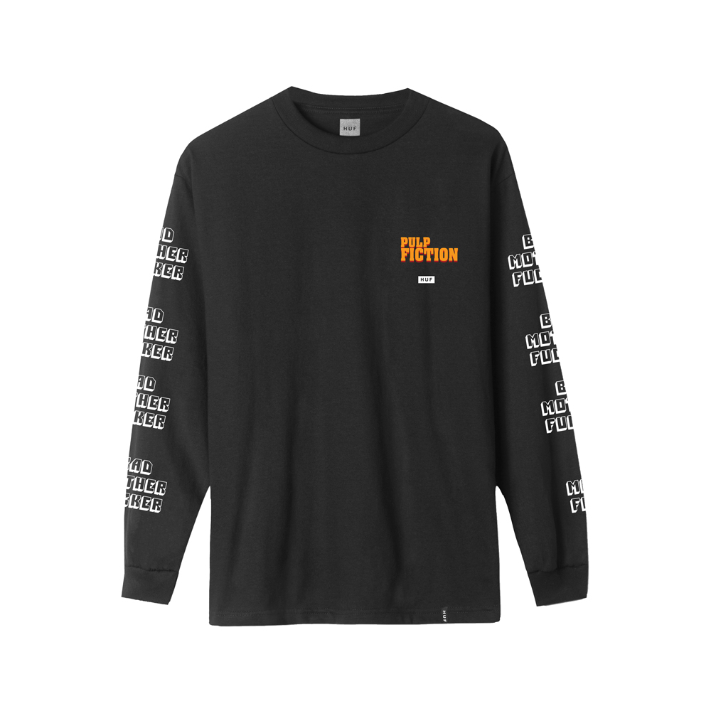 """The HUF x Pulp Fiction Bad MF Woven Top is a retro-inspired button-up commemorating Pulp Fiction's 25th anniversary. Cut from comfortable rayon, the shirt features a """"Bad Motherfucker"""" all-over print—inspired by the wallet belonging to hitman Jules Winnfield (Samuel L. Jackson)—and is finished with vintage-styled piping at the sleeve cuffs and left chest pocket. • 100% rayon button-up short sleeve woven shirt • All-over """"Bad Motherfucker"""" screen-print • Convertible collar • Straight hem with side-seam slits • HUF woven label at rounded left chest pocket • Piping at sleeve cuffs and pocket • HUF x Pulp Fiction Collaboration"""