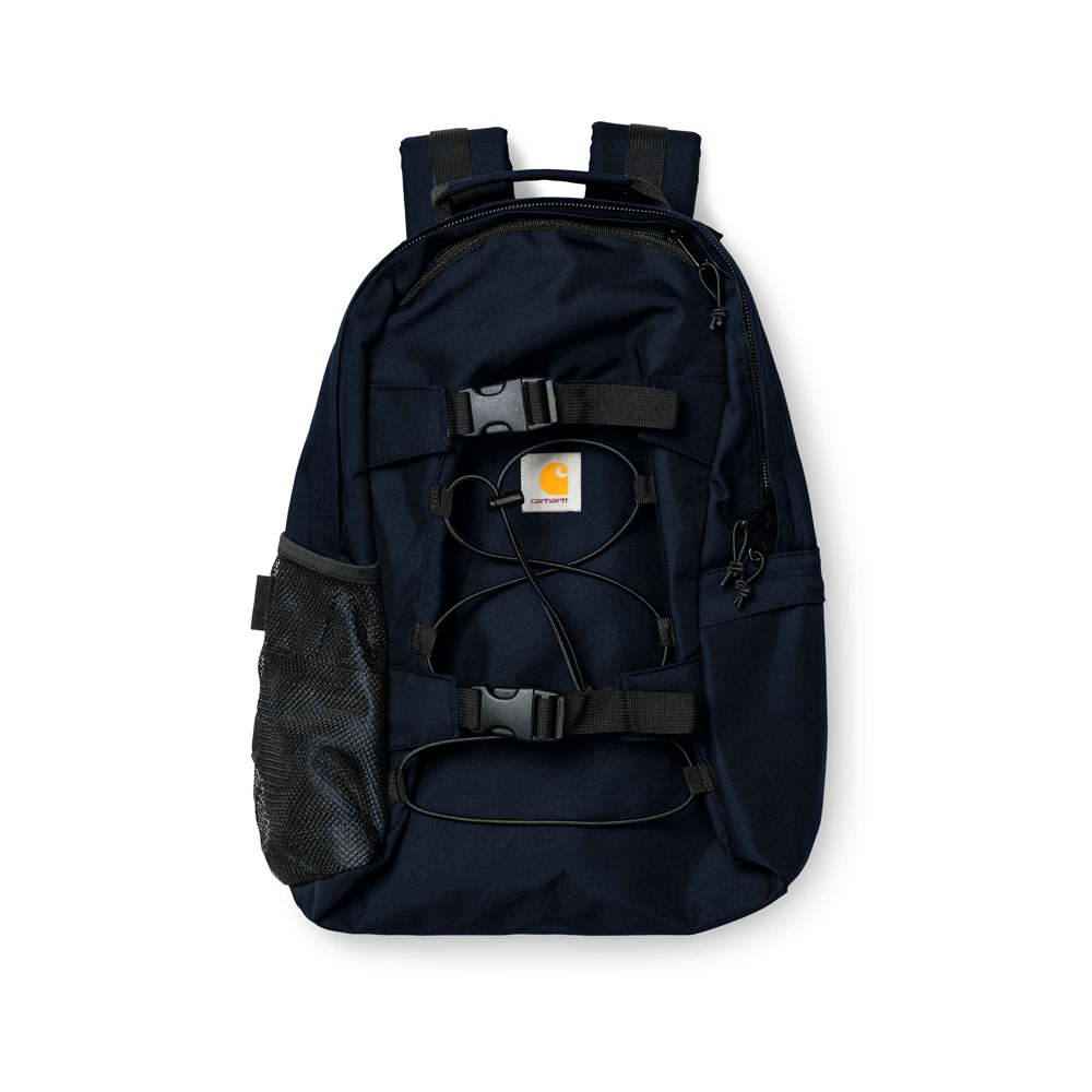 Carhartt Work in Progress Kickflip Backpack Dark Navy Carhartt WIP Kickflip backpack Dark Navy I006288_08Z_00 45 x 29 x 19 cm / 17.7 x 11.4 x 7.5 inch 24.8 liter water repellent fabric unlined two-way zip closure side pocket with zip closure mesh side pocket board fixation with plastic clickers square label