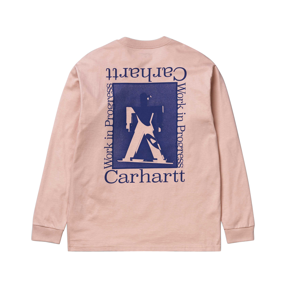 Now in stock theCarhartt WIP L/S Foundation T-Shirt The Carhartt WIP Long Sleeve T-Shirt Carhartt WIP L/S Foundation T-shirt is a comfortable shirt, constructed from a cotton yarn dyed blend. I027755_08T_90 loose fit graphic print Powdery pink with blue accents