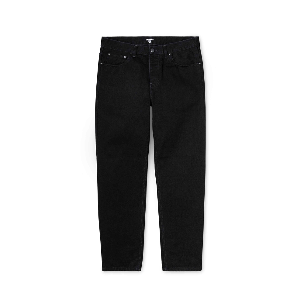 Now in stock theCarhartt Newel Pant. The Carhartt Newel Pant is a classic five-pocket jean, executed in a contemporary relaxed tapered cut. Constructed here in our 'Maitland' fabric, a heavyweight 13.5oz cotton denim. This denim has been washed for added comfort, but maintains its durable qualities. Features woven Carhartt WIP label on right rear pocket. I024905_89_02 100% Cotton Denim, 13.5 oz relaxed tapered fit, regular waist back yoke metal rivets and stitching at vital stress points square label button fly