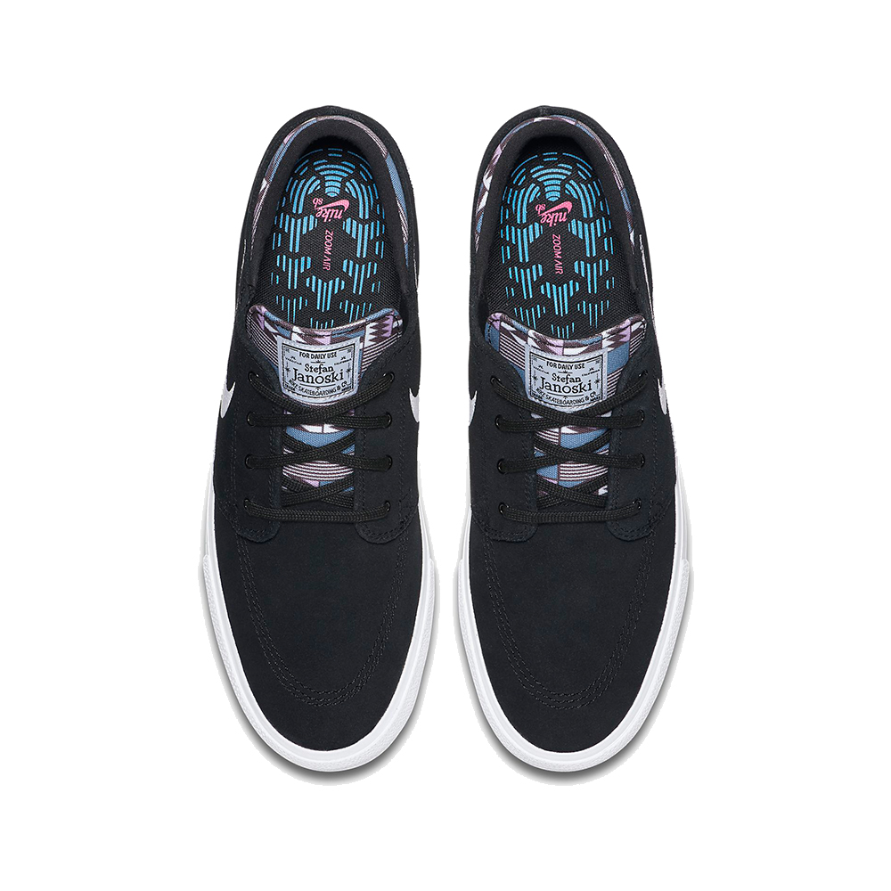 Now in stock the Nike SB Janoski RM Black Multi. Remastered version of the iconic janoski shoe by Nike SB and Stefan Janoski. The Nike SB Janoski RM Black Multi Premium edition stylizes the classic skate shoe with a punch of color. A patterned canvas sockliner with responsive zoom air full length cushioning that delivers the performance you need of a shoe. Back in '09, most skate shoes were big and bulky. Nike SB pro Stefan Janoski set out to break the mold with his signature shoe. He wanted to be able to feel everything underfoot, so we made it lower, flatter and lighter. The result showed Stefan's no-nonsense personality in every detail—right down to the motto on his old-school patch. Geometric shapes between the midsole and the outsole expand and contract in all directions for better boardfeel and flexibility. Rubber has been thinned out in key areas for a lightweight, broken-in feel right out of the box. Productcode: CI2231001 This Shoe Nike SB Janoski RM PRM has a Fresh black and amethyst tint multi color scheme and has the classical nike swoosh. If ordered now it will be at your door at high speed by fast shipping. Want to find fitting apparel? See Apparel by Nike combine it with other brands in our webshop in the Shoes Apparel Headwear Specials Hardware Accessoires. More info can be found at the online headquarters of Nike SB or Nike. Don't forget to check out our sale page to get lucky. Fier skateshop is based in Dordrecht and is the number one skate shop in the Drechtsteden for shoes, clothing, hardware, service and a big smile when it comes to skateboarding. Also follow us on social media Instagram,Facebook to make sure you're up to date with new products and specials.