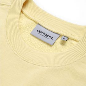 Now in stock the Carhartt WIP Pocket Sweat. The Carhartt wip Pocket Sweatshirt is based on our classic pocket t-shirt, but constructed here in a heavyweight 13.3oz cotton jersey. This piece has been created in a loose, slightly boxy fit. It features a single chest pocket, emblazoned with Carhartt WIP labeling, crewneck collar, and ribbed detailing at both the hem and cuffs. I027681_09F_00 loose fit unbrushed garment washed chest pocket square label Our stock holds the Fresco Yellow and Window Blue variant. Nu op voorraad de Carhartt WIP Pocket Sweat. De Carhartt wip pocket sweat is gebaseerd op de klassieke pocket t shirt, maar nu opgebouwd met een zwaardere variant katoen. Dit kledingstuk is gemaakt in een losse en lichte box pasvorm. Kenmerkend een borstzakje met een verhoogd Carhartt WIP Label, crewneck kraag en een geribde detail afwerking om de polsen en bodem. I027681_09F_00 losse pasvorm ongeborsteld katoen voorgewassen borstzakje blok label Onze voorraad heeft de Fresco geel en Window blauw variant