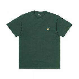 Now in stock the Carhartt WIP S/S Chase T-Shirt. The Carhartt WIP S/S Chase T-Shirt is constructed from combed cotton jersey. It is part of our Chase Program, which focuses on jersey-based staples, and features an embroidered Carhartt 'C' motif on the left chest. Loose fit. I026391_3C_90 100% Cotton Combed Single Jersey, 235 g/m² loose fit logo embroidery on chest Our Stock holds the Treehouse Green And Black variants.