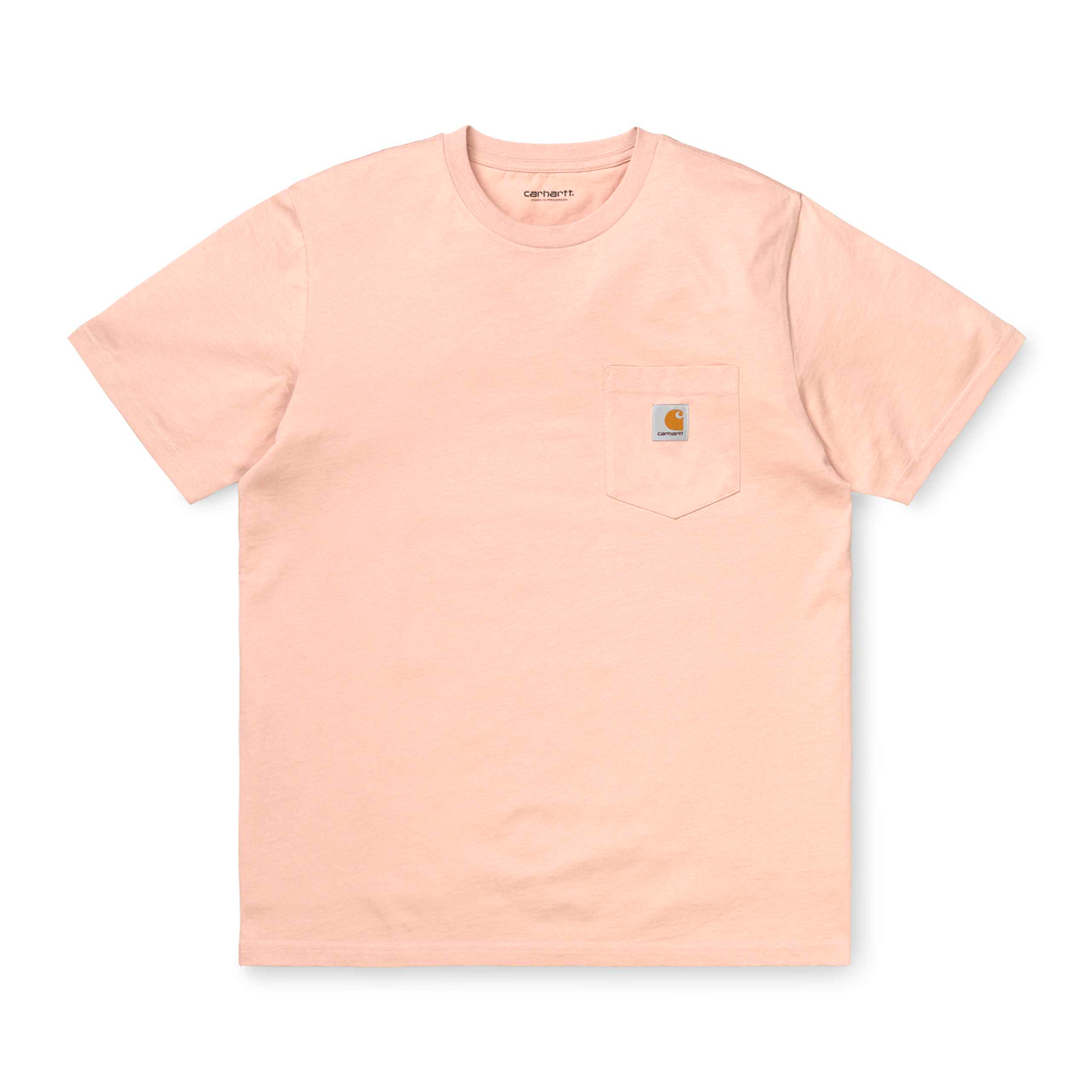 Now in stock theCarhartt WIP S/S Pocket T-Shirt. The Carhartt WIP S/S Pocket T-Shirt is constructed from cotton jersey. It features a single chest pocket, adorned with a woven Carhartt WIP label. Regular fit. I022091_08T_00 100% Cotton Single Jersey, 175 g/m² regular fit chest pocket square label on chest pocket Our stock holds the Powdery Pink and Zola Heather Green variants