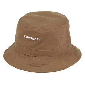 Carhartt Work in Progress Script Bucket Hat I026217_89_90 I026217_09E_90 I026217_HZ_90 100% Cotton Canvas, 7.7 oz S/M: 57 cm - 22.4 inch M/L: 59 cm - 23.2 inch L/XL: 61 cm - 24 inch unstructured -no reinforcement lined four panel metal ventilation eyelets script embroidery